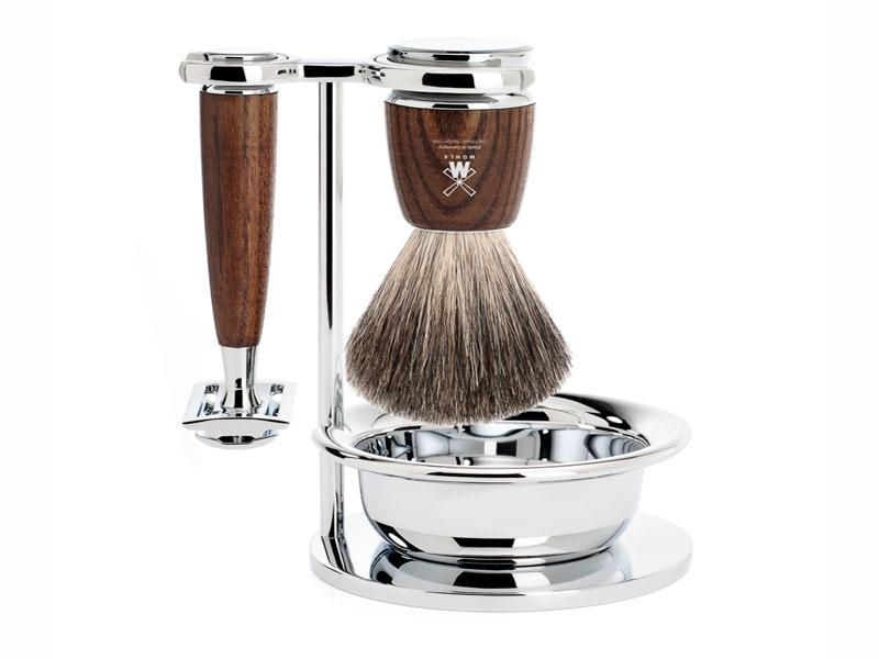 Juego Maquinilla de afeitar-Brocha-taza Mühle Rytmo